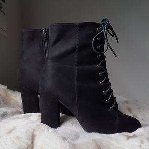 Black Suede Lace Up High Heel Boots